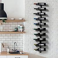 yaheetech portabottiglie vino da parete ferro scaffale metallo vino porta 10 bottiglie 126 cm mobile esposizione vino nero