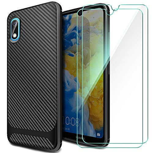 ivencase Cover Huawei Y5 2019+[2 Pack] Pellicola in Vetro Temperato,Custodia Huawei Y5 2019 TPU Silicone Case Shock-Absorption Bumper e Anti-Scratch Back per Huawei Y5 2019-Nero