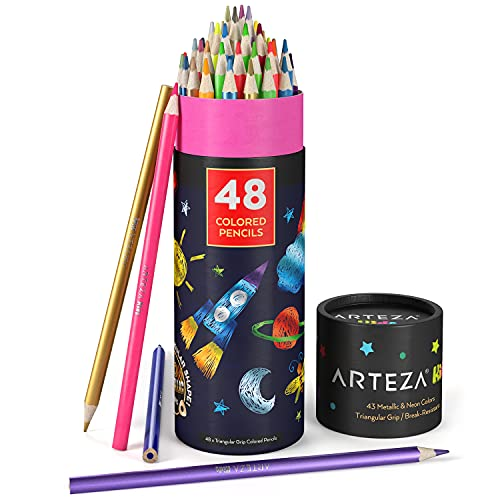Arteza Kids Colored Pencils, Set of 48, Metallic and Neon Colors, Triangular Pencil Crayons, Pre-Sharpened, Art and School Supplies for Younger Student Drawing and Doodling