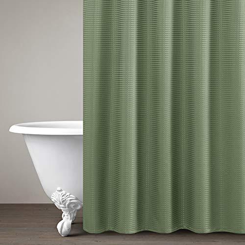 Vangao Wasserdicht Duschvorhang für Badzimmer Einfarbig Design Textil Paneel Badewanne mit 12 Hacken 177cm*182cm Teegrün
