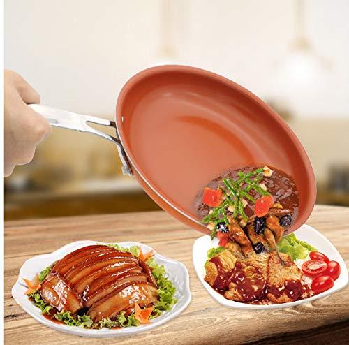 Smokeless Non-stick Skillet Copper Red Pan Ceramic Induction Frying Pan Saucepan Dishwasher Safe Nonstick