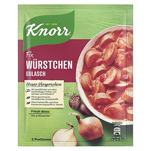 Knorr Fix Würzbasis, für eine schnelle Zubereitung Würstchen Gulasch, 2 Portionen, 29g