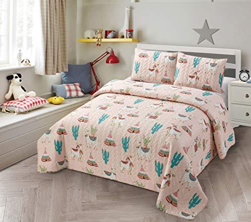 Better Home Style Mehrfarbiges Llama-Alpaka-/Kaktus-Design, indisches Südwest-Design, für Kinder/Mädchen/Kleinkinder, 2-teiliges Tagesdecken-Set mit Sham-Lama-Motiv (Doppelbett)