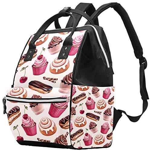 Zaini Borsa per pannolini Zaino per laptop Leggero Escursionismo Campeggio Zaino da viaggio per donna Dessert Panino alla cannella Cupcakes al cioccolato