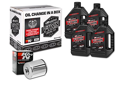 Maxima Racing Oils 90-119014C Chrome Engine Oil Change Kit (Quick Change Twin Cam Synthetic 20W-50 Filter), 4 Quart, 1 Pack