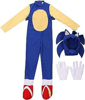Lucky baby Niñas Niños DisfrazSonic Hedgehog Jumpsuit + Tocado + Guantes Traje