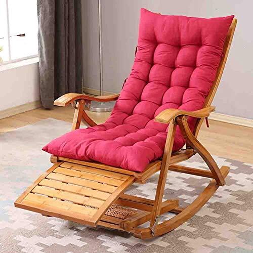YB&GQ Patio Rocking Chair,Indoor Outdoor High Seat Back Chair,Padded Folding Armchair Lounge Chair,Bamboo Relaxing Recliner With Foot Massager Red 47x95x74cm(19x37x29inch)