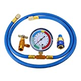 R134a Recharge Hose Kit with Gauge, 59'' AC Refrigerant Recharging Hose Measuring Kit, Self-sealing R-134a Can Tap Refrigerant Dispenser to R-12/R-22 port, Include R134a Low Side Quick Couple