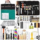 Kit de herramientas de cuero de 328 piezas, kit de cuero con manual, herramientas y suministros de trabajo de cuero, herramientas de sello de cuero, ranura de costura y kit de remaches adecuado para principiantes y profesionales