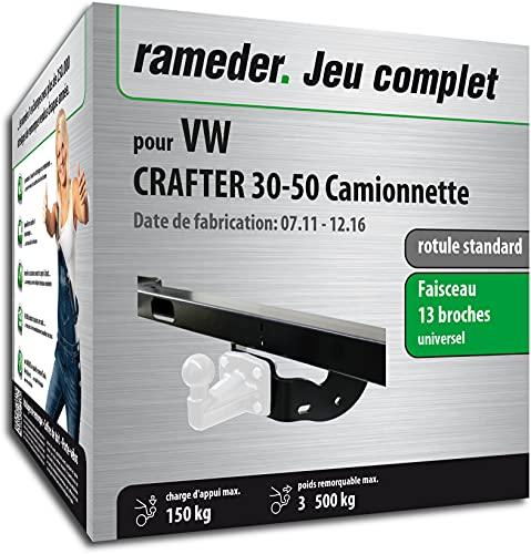 Rameder Pack, attelage rotule Standard 4 Trous livrée sans rotule + Faisceau 13 Broches Compatible avec VW Crafter 30-50 Camionnette (161515-05529-2-FR).