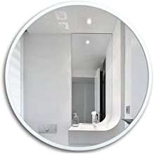WHPSTZ Makeup Mirror Comb Large Round Makeup Mirror Simple European White Wood Frame Round Wall Hanging Bathroom Mirror Makeup Mirror (Size : 70cm)