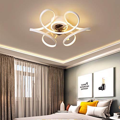 LED Dimable Plafón Con Ventilador Moderno Invisible Ventiladores Para El Techo Con Lámpara Comedor Dormitorio Living Velocidad Del Viento Ajustable Fan Iluminación Luces,Blanco,55cm