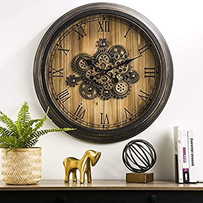 "Glitzhome 27.76"" D Wooden/Metal Silent Non-Ticking Wall Clock Vintage Industral Oversized Rustic Battery Operated Clocks with Moving Gears Wall Decorative for Home Office School"