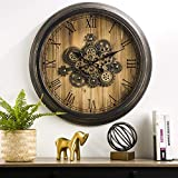 Glitzhome 27.7' D Large Decorative Wall Clock with Roman Numerals, Wooden/Metal Vintage Industrial Oversized Rustic Battery Operated Clocks with Moving Gears for Home Office School