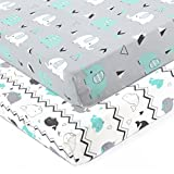 BROLEX Stretchy Fitted Crib Sheets Set 2 Pack Portable Crib Mattress Topper for Baby Boys Girls,Ultra Soft Jersey,Full Standard,Elephant & Whale