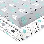 Burt's Bees Baby – Fitted Crib Sheet, Boys & Unisex 100% Organic Cotton Crib Sheet for Standard Crib and Toddler Mattresses (Hello Moon!)