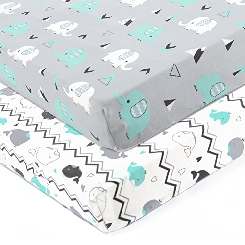 Stretchy Fitted Crib Sheets Set-Brolex 2 Pack Portable Crib Mattress Topper for Baby Boys Girls,Ultra Soft Jersey,Full Standard,Elephant & Whale