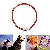 Case Wonder LED Leuchthalsband Hunde Halsband -USB Wiederaufladbar -Längenverstellbarer Haustier Sicherheit Kragen/Blinkende Kragen Deluxe -Improved Sichtbarkeit & Sicherheit (Rot)