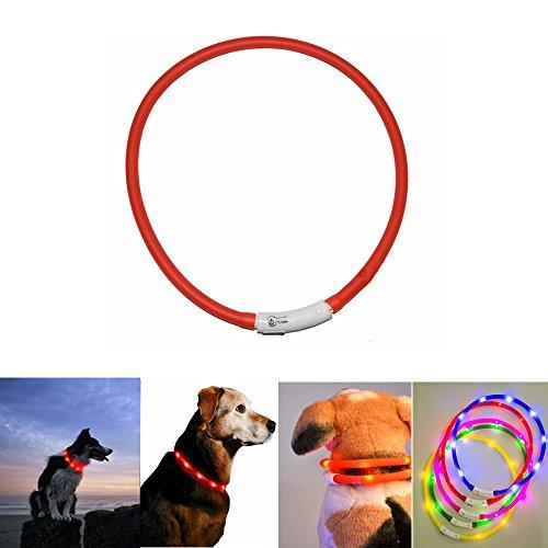 Case Wonder Led-halsband voor honden, lichtgevende hondenhalsband – led-knipperlicht, veiligheidshalsband voor honden – verbeterde zichtbaarheid van de hond – USB-oplaadbaar en verstelbaar – 3 lichtmodi Rood