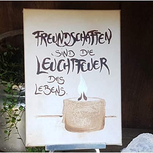 Leuchtfeuer des Lebens/Anfertigung nach ihren Wünschen/frei Hand gestaltet/Einzelstück/Leinwand/Persönliches Geschenk/Herz/Spruch/Kerze/Licht/Freundschaft/Danke/Glück/Familie