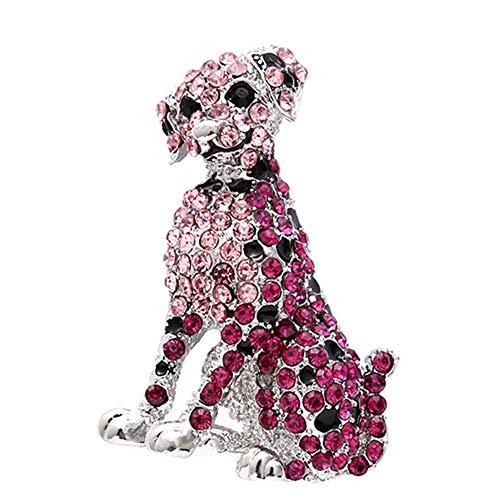 BIGBOBA Süß Element gefleckt Hund Brosche Anstecknadel, Legierung Kristall Haustier Hund Brosche, Damen Brosche Schal Schnalle, 5.5 * 4cm