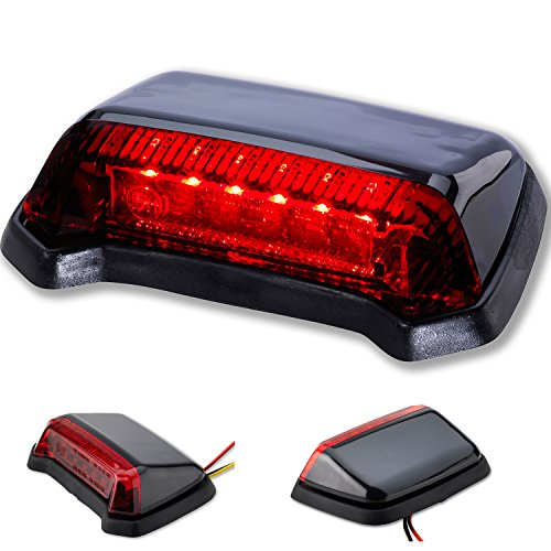 LED Universal Rücklicht Fender Motorrad Custom Harley Gehäuse Schwarz Rotes Glas
