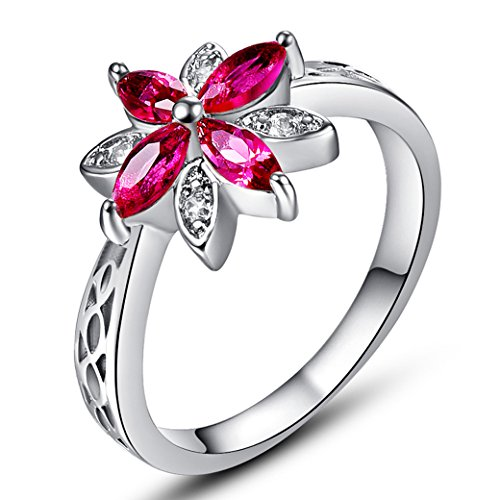 Veunora 925 Sterling Silver Created Marquise Cut Ruby Spinel Filled Dainty Flower Ring for Women Size 8