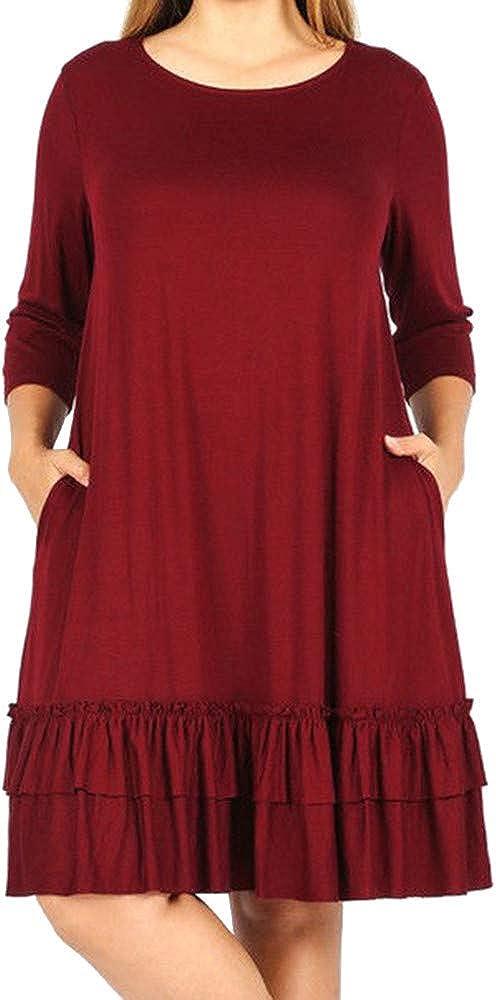 iYYVV Fashion Womens Plus Size Layered Pleated Cascading Ruffle Knee-Length Dress