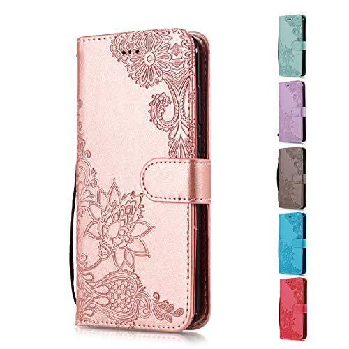Funda Libro para Apple iPhone 5 5S SE Carcasa de Cuero PU Premium Encaje de Flores de Mandala Flip Wallet Case Cover con Tapa Teléfono Piel Tarjetero - Oro Rosa