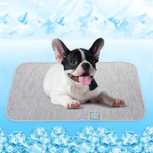 Dog Cooling Mat, Rywell Self Cooling Pads for Dogs & Cats, Arc-Chill Q-Max0.4 Reusable Summer Pet Ice Cool Bed with Super Absorption, Machine Washable & Portable, Home & Travel - M (20×30'') - Gray