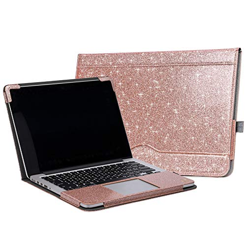 TYTX Macbook Pro Retina 13 inch Leather Case 2015 2014 2013 Release A1502 A1425, Leather Protective Folio Book Cover for Macbook Pro 13'', Shining Rose Gold