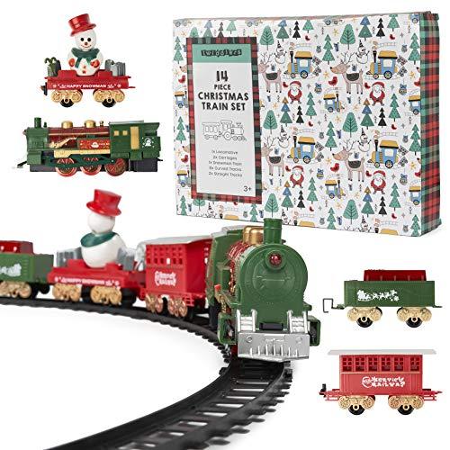 14 Pezzi Trenino Elettrico di Natale con Luci e Suoni| 1 Locomotiva, 2 Carrozze, 1 Carrozza Pupazzo di Neve, 2 Diritti e 8 Binari Curvi| Decorazione Albero Natale, Regalo Giocattolo Bambini.