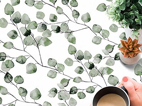 Tovaglia in tela cerata Maure verde con foglie verdi e rami su sfondo bianco Composizione 100% PVC (140_x_200_cm)