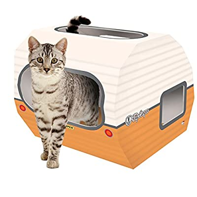 ***NEW *** Cardboard Cat House - The Kitty Camper Is The Perfect Playhouse, Castle And Bed For Indoor Pets - Just Add Cat Toys & Feel Good About Leaving Your Kitten or Rabbit At Home-*FREE* EBook - Money Back Guarantee