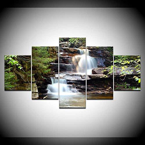 Toile Peinture Cascade dans Le Paysage Forestier 5 Pièces Mur Art Peinture Modulaire Fonds D'écran Affiche Imprimer Salon Décor À La Maison Taille 2 avec Cadre