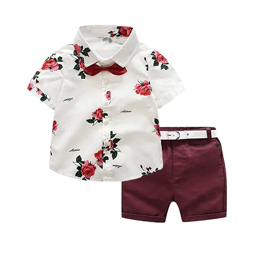 FEITONG Baby Gifts, Toddler Baby Boy Gentleman Suit Rose Bow Tie T-Shirt Shorts Pants Outfit Set