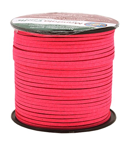 Mandala Crafts Light Coral Faux Suede Cord - Flat Vegan Leather Cord for Jewelry Making Beading - Micro Fiber Leather String Cord Leather Lace for Leather Lacing Necklace Bracelet 2.65mm 100 Yards