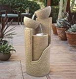 Wehmann Solarspringbrunnen Solarbrunnen Dubai Garten Brunnen Kaskade Komplettset für Garten und Terrasse Tag und Nacht ! NEU Bonus Gratis Ladeteil