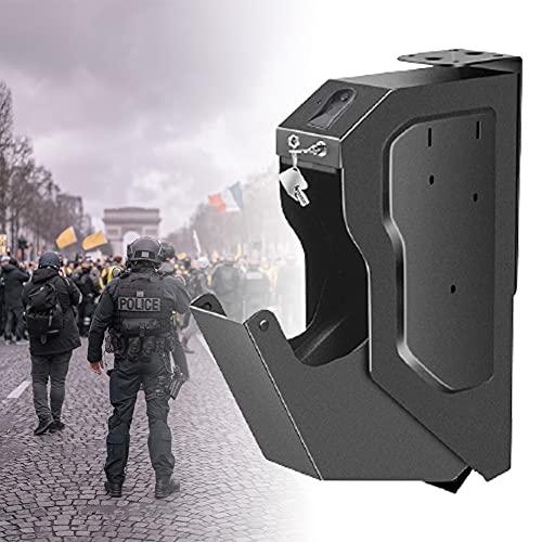 HNWTKJ Portátil Biométrico de Huellas Dactilares Arma de la Caja, Caja de Seguridad de la Pistola con la Huella Digital y la Llave de Repuesto, la Huella Digital Seguro para el Escritorio Armario
