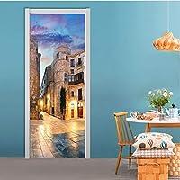 YMXRZDM 3Dドア 都市建築 室内用ドア装飾シート 防水 壁紙 DIY 飾り ステッカー 壁紙 95 x 215 cm