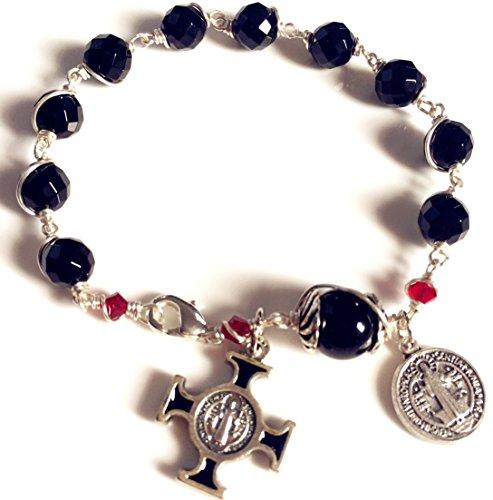 elegantmedical HANDMADE SILVETR Wire Wrap Black Agate Prayer Beads Bracelet Rosary Cross Catholic