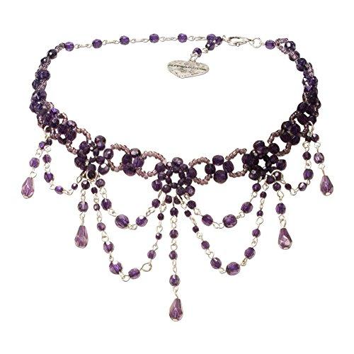 Alpenflüstern Trachten-Perlen-Kropfkette Elise - Trachtenkette Damen-Trachtenschmuck Dirndlkette lila-violett DHK089