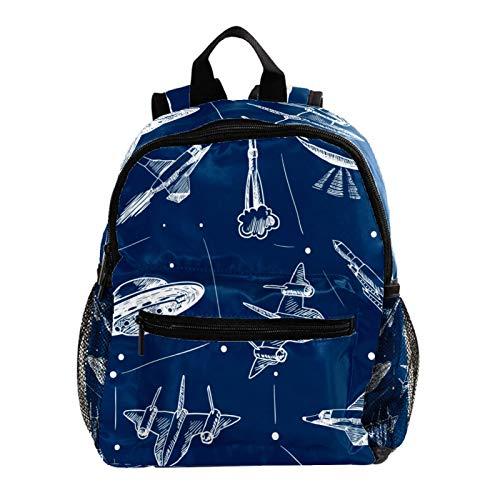 Kid Child Girl Cute Patterns Printed Backpack School Bag,Spacecraft Rocket Plane Navy Background