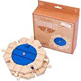 Conductor Carl Wooden Train Track Turntables (2-Pack) | Eight-Way Rotating Directing and Switching Accessory | Compatible Playset Expansion for Major Hobby and Toy Brands