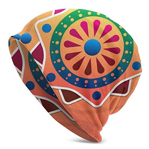 BGDFN Hermosos diseños de Flores de Colores Gorro de Punto Gorro cálido Gorros de Calavera con puños Suaves elásticos Gorro Diario para Unisex Negro