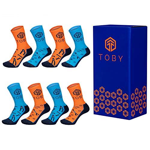 Generic Toby Apparel 4 | 8 Paar Arbeitssocken Herren verschleißfest bequem Baumwolle (4 Paar Blau, 4 Paar Orange, 43-46)