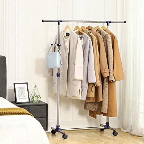SONGMICS Kleiderständer, Garderobenständer auf Rollen, Rohre mit Edelstahlbeschichtung, mit ausziehbarer Kleiderstange, seitliche Haken für Accessoires, höhenverstellbar 97-165 cm, blau LLR01L