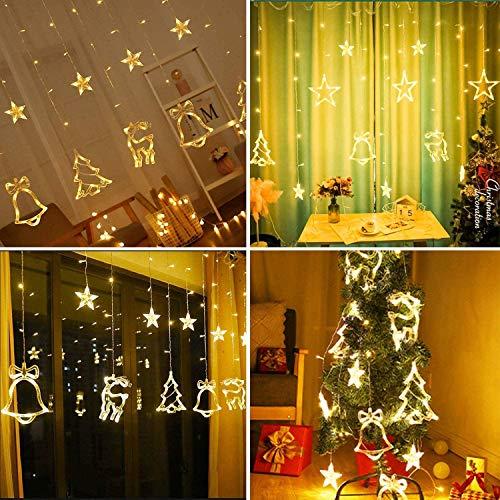 LED Tenda Luci di Natale,Luci della stringa tenda,138 LED Tenda Luci Stringa di Natale 8 modalità Fiabesca Luminosa Stelle Luci Natale per Feste,Natale,Matrimonio,Giardino Decorazione(Bianco Caldo)