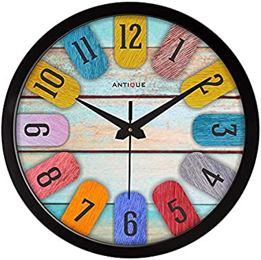 Antique 12-inch Round Shape Wall Clock with Glass for Home/Kitchen/Living Room/Bedroom/Office, Multicolor Vintage Look (Black
