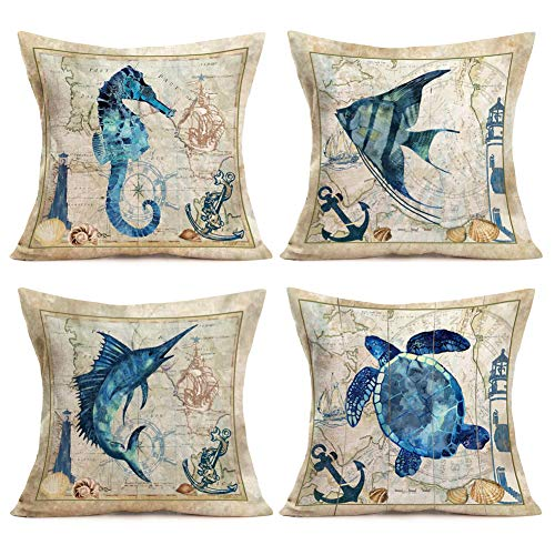 Aremazing 4 Pack Ocean Home Decor Pillowcase Marine Life Map Art Anchor Design Cotton Linen Decorative Throw Pillow Case Cushion Cover 18' X 18',Sea Turtle,Sea Horse,Dorado & Angel Fish,Lighthouse